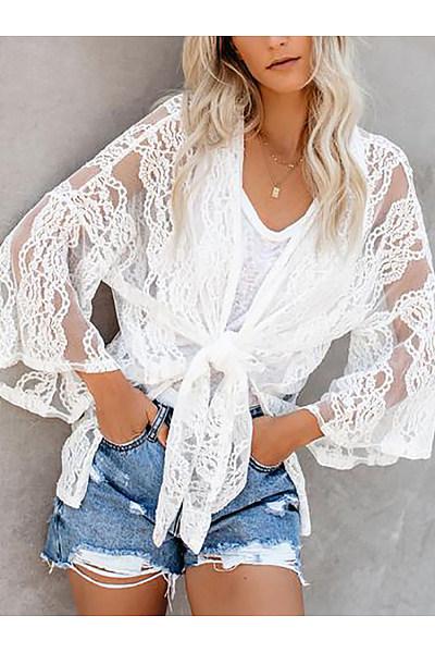 Elegant Lace Bell Sleeve See-Through Cardigan