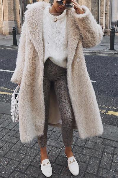 Fold Over Collar  Plain  Teddy  Outerwear