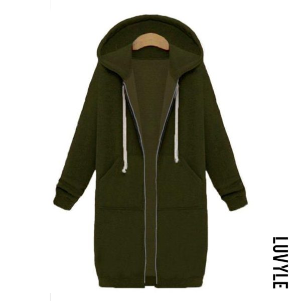Army Green Fashion Long Sleeve Loose Hoodie Coat Army Green Fashion Long Sleeve Loose Hoodie Coat