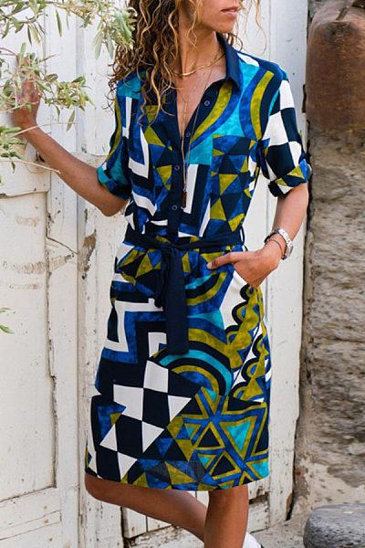 Turn Down Collar  Single Breasted  Belt  Geometric  Long Sleeve Casual Dresses