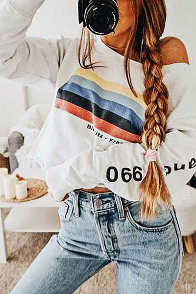 Fashion Long-Sleeve Monogrammed Strapless T-Shirt