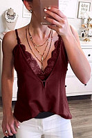 Lace Patchwork Spaghetti Straps Camis