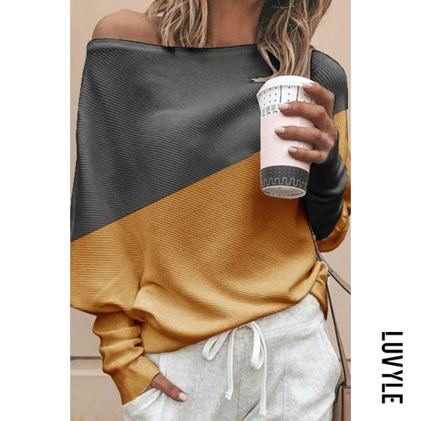 Yellow Casual Off-The-Shoulder Loose Stitching Contrast Color Long-Sleeved T-Shirt Yellow Casual Off-The-Shoulder Loose Stitching Contrast Color Long-Sleeved T-Shirt