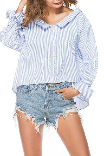 Fold Over Collar  Asymmetric Hem Single Breasted  Striped Shirts