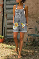 Casual Floral Print Denim Shorts Jumpsuits
