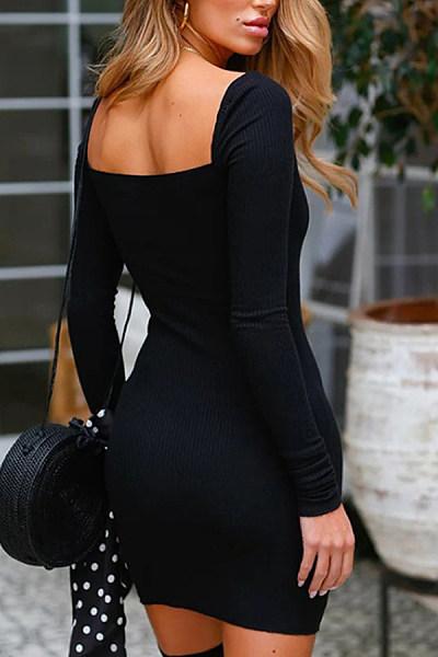 Square Neck  Backless  Plain  Long Sleeve Bodycon Dresses