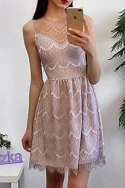 Round Neck  Lace  Sleeveless Casual Dresses