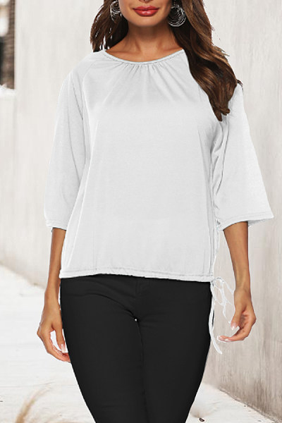 Round Neck  Drawstring  Plain T-Shirts