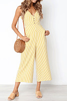 Fashion V Collar Stripe Button Wide-Leg Jumpsuit