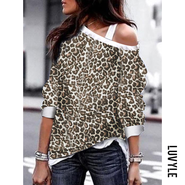 Brown Leopard Print One Shoulder Backless Cutout Patchwork Contrast Stitching Leopard Long Sleeve T-Shirts Brown Leopard Print One Shoulder Backless Cutout Patchwork Contrast Stitching Leopard Long Sleeve T-Shirts
