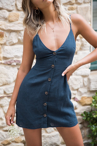 Spaghetti Strap  Backless  Decorative Buttons  Plain  Sleeveless Casual Dresses