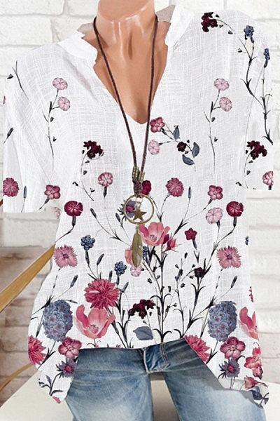 V Neck Floral Print Short Sleeve Blouse