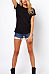Round Neck  Backless  Hollow Out Plain T-Shirts