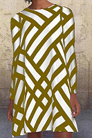 Geometric Striped Long Sleeve A-line Dress