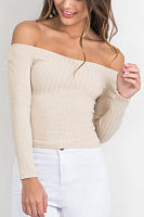 Off Shoulder Exposed Navel Long Sleeve Knitwear