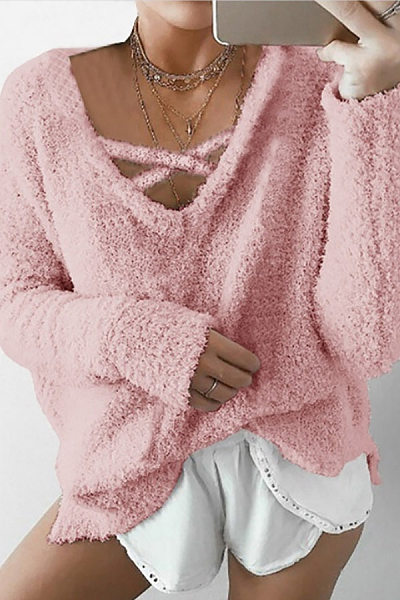 V-Neck Solid Color Mohair Hooded Sweatershirt