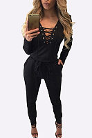 Deep V Neck  Lace Up  Belt  Plain Jumpsuits