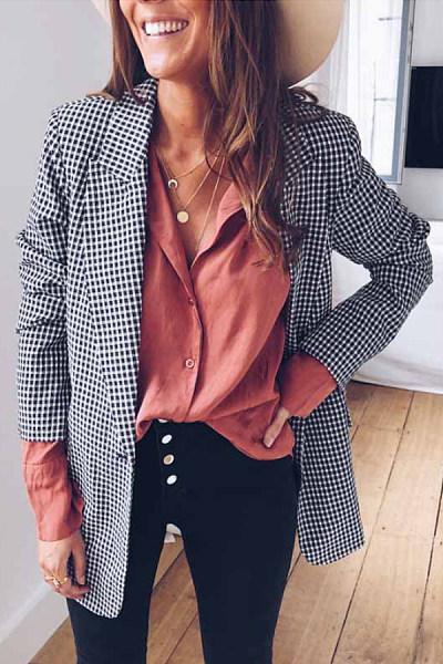 Classic Plaid Long Sleeve Casual Blazer