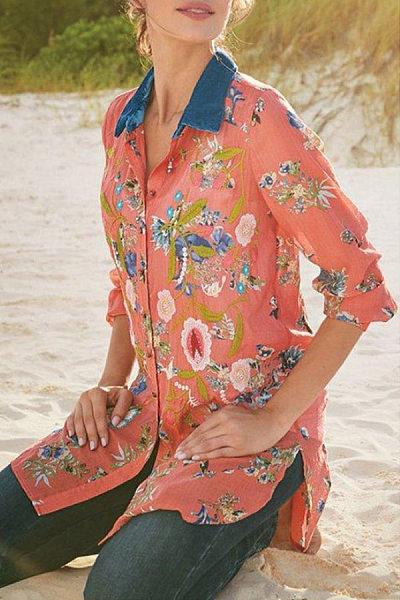 Casual Printed Slit Long Sleeve Shirt