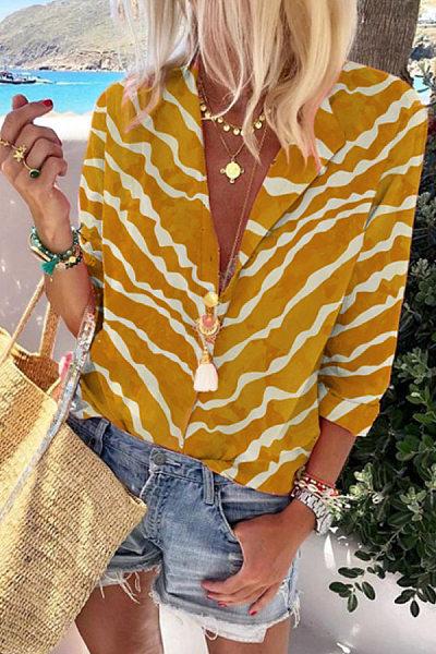 Women's Long Sleeve Leopard Suit Collar Long Sleeve Shirt
