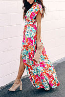 Surplice  Abstract Print Maxi Dresses