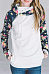 Hooded  Zipper  Color Block Floral Printed Hoodies