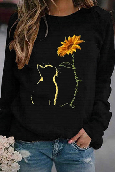 Printed Round Neck Casual Sweatshirt