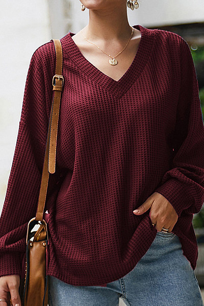 V Neck Lantern Sleeve Plain Sweater