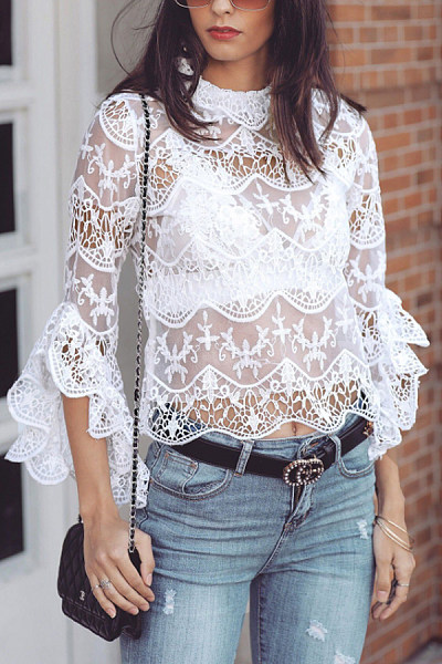 Band Collar  Decorative Lace  Lace  Blouses