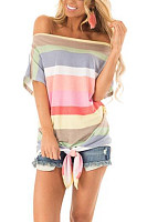 Open Shoulder  Lace Up  Stripes T-Shirts