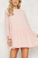 Crew Neck  Ruffled Hem Single Breasted  Plain  Long Sleeve Casual Dresses