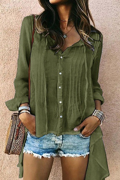 V Neck Long Sleeve Plain Blouse