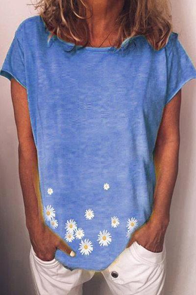 Women's Round Neck Short Sleeve Daisy Print T-shirt