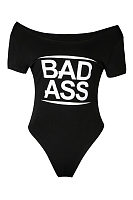 Round Neck  Letters Printed Bodysuits