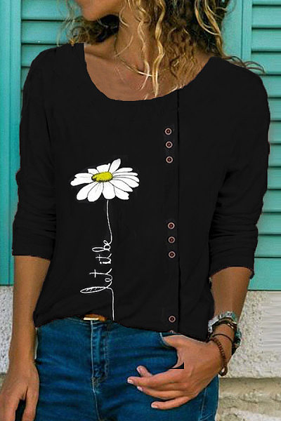 Casual Round Neck Long Sleeve Printed Blouse