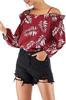 Open Shoulder  Print  Blouses