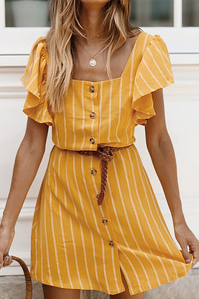 Square Neck  Single Breasted  Striped  Short Sleeve Skater Dresses