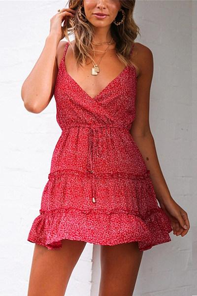 Summer Printed High Waist Shoulder Straps Dress