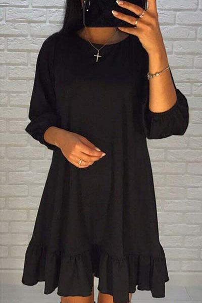 Round Neck  Flounce  Plain  Lantern Sleeve  Long Sleeve Casual Dresses