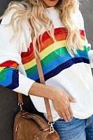 Casual Rainbow Contrast Knitted Sweater
