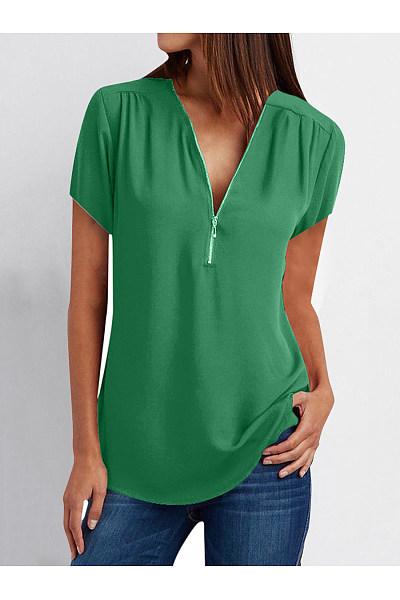 V-Neck Zips Plain Short Sleeve Blouses