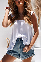 Solid Color Ruffled Vest