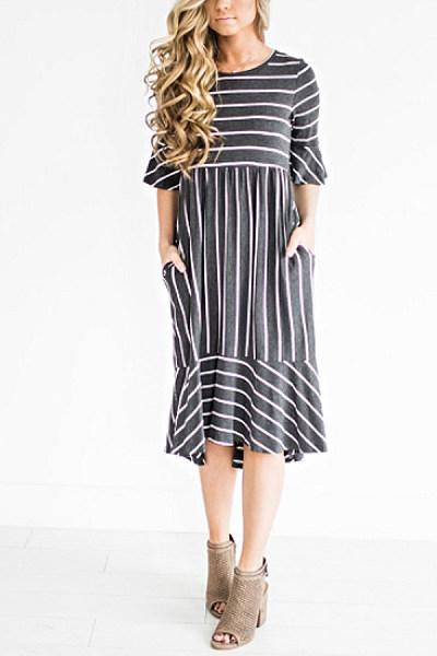 Round Neck  Cascading Ruffles  Striped  Bell Sleeve  Half Sleeve Maxi Dresses