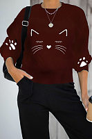 Casual Round Neck Cat Hoodies