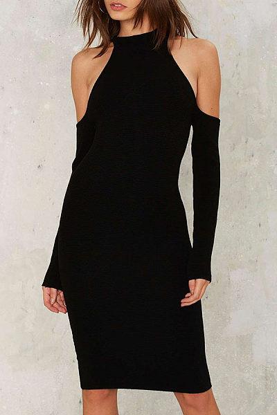 Open Shoulder  Cutout  Plain Bodycon Dresses
