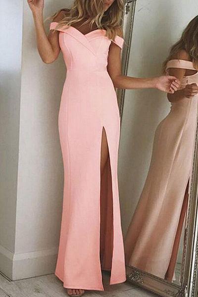 Elegant Off Shoulder Slit Maxi Dresses