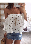 Off Shoulder Polka Dots Blouses