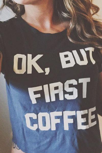 Round Neck  Letters Plain T-Shirts