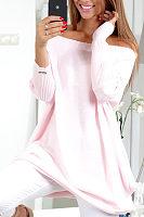 Off Shoulder  Asymmetric Hem  Plain  Batwing Sleeve  Long Sleeve Casual Dresses