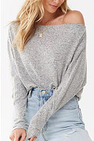 Shoulder Collar Plain Long Sleeve Casual T-Shirt